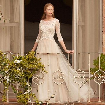 LORIE Long Sleeve Wedding Dress Scoop Neck Appliqued wih Lace Princess Wedding Gown Tulle A-Line Bridal Gown 2019 Free Shipping