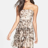 Women's Hailey by Adrianna Papell Glitter Camo Print Tiered Dress