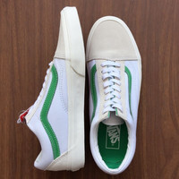 Vans White/Green Canvas Skate Shoes