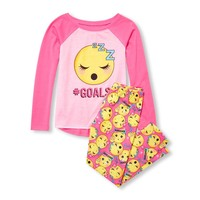 Girls Long Raglan Sleeve 'Hashtag Goals' Emoji Top And Printed Pants PJ Set
