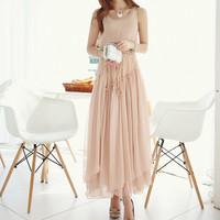 Pink Sleeveless Chiffon Dress