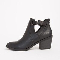 Side Slit Buckled Ankle Boots