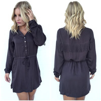 Fringe Around Dress In Charcoal