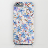 Purple Painted Floral Pattern iPhone & iPod Case by Micklyn