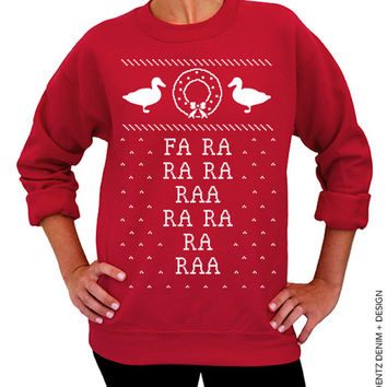 Fa Ra Ra Ra - Ugly Christmas Sweater - Red Unisex Crew Neck