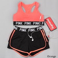Victoria's Secret Summer Letter Pants Sport with Chest Pad without Steel Bra Two Piece F0790-1 Orange