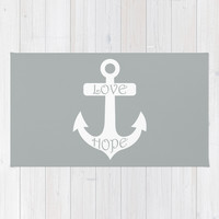 Love Hope Anchor Paloma Grey Area & Throw Rug by BeautifulHomes | Society6