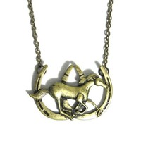 Horse Shoe Necklace Equestrian Charm Gold Tone NL22 Pony Country Western Mustang Pendant Fashion Jewelry