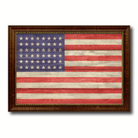 48stars Military Flag Canvas Print with Brown Picture Frame Home Decor Wall Art Gift Ideas