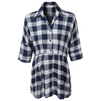 Plaid 3/4 Sleeve Lace Up Front Tunic Top (CLEARANCE)