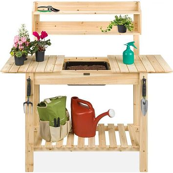 Outdoor Garden Wood Potting Bench Expandable Top with Food Grade Plastic Sink