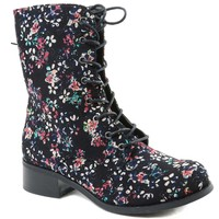Victorian Floral Black Lace Up Mid-calf Vegan Boots Black Women's