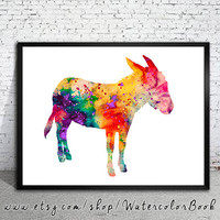 Donkey Watercolor Print, Fine Art Print, Children's Wall, Art Home Decor, animal watercolor, watercolor painting, donkey watercolor