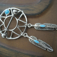 Turquoise Dream Catcher 14 Gauge G 14G Nipple Piercing Barbell Feather Dangle Shield Pierced Ring Jewelry Bar