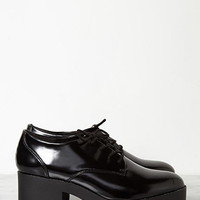 Patent Faux Leather Heeled Oxfords