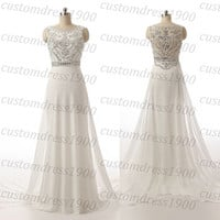 Cap Sleeve Long Prom Dress Handmade Crystal/Beading Chiffon Formal Women Evening Dress White Ivory Prom Gowns Party Dress