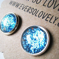 Metallic Teal Blue and Silver Earrings by EverSoLovely