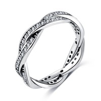 8 Style Braided Pave Silver Twist Of Fate Clear CZ Women Pandora Rings Wedding Jewelry Birthday Gift