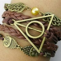 HealthTop Handmade Vintage Owls for Harry Potter Deathly Hollows Wings Leather Wrap Bracelet Unisex
