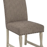 Office Star Kingman Dining Chair with Antique Bronze Nailheads and Brushed legs in Edward Chocolate Fabric [KMN-R25]