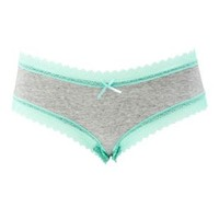 Mint Lace-Trim Heathered Cheeky Panties by Charlotte Russe