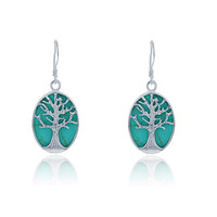 Sterling Silver Turquoise Tree of Life Oval Dangle Earrings