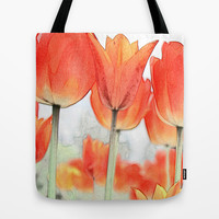 Beautiful red, orange color tulip flowers.  Tote Bag by NatureMatters