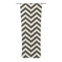 "Amanda Lane ""Moonrise Chevron ikat"" Decorative Sheer Curtain"