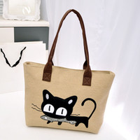Casual Women Canvas Shoulder Bag Cute Cat Fish Bag Girl Student Office Worker Lunch Picnic Bags Pouch