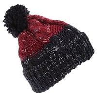 Mens Knitted Two-Tone Winter Beanie Hat (One Size) (Burgundy/Navy)