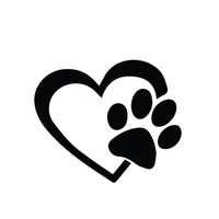 HEART with DOG PAW Puppy Love  Vinyl Decal Window Sticker for Cars, Trucks, Windows, Walls, Laptops, and other stuff. Any Corlor