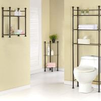 """Bronze Metal 26""""H Wall Mount Shelf With Tempered Glass"""
