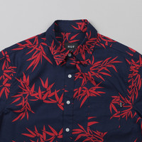 Huf Bamboo S/S Woven Shirt Navy / Red