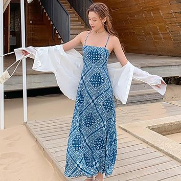 Women Long Backless Slip Dress Sundress Runway Ethnic Vintage Fairy Casual Beach Vacation Party Dresses