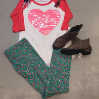 Coral/Pink Sequin Heart women's Tunic