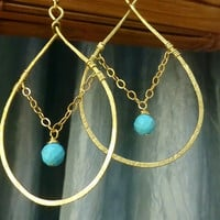 Gold Hoops with a Turquoise Drop - Earrings