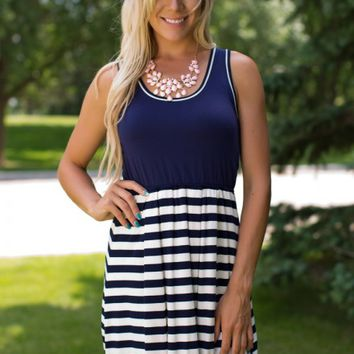 The Finer Things Striped Dress in Navy