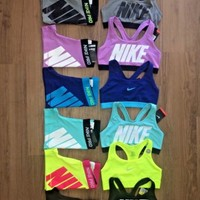 Nike Pro Shorts & Nike Sports Bra Exploded Nike Logo NWT ~Each Sold Separately