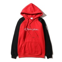 Champion Winter Cotton Pullover Tops Patchwork Hoodies [9521194183]