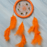 Orange Dreamcatcher / Dream Catcher with Unakite gemstone beads, wall decor, bedroom decor, nursery decor