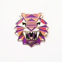 Geometric Tiger Brooch Pin Badge Enamel