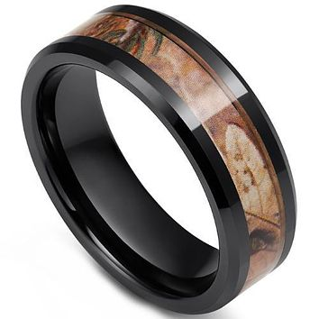 Tungsten Rings For Women Black Tungsten Carbide Ring With Camo