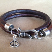 Men's Leather Wrap Bracelet with Sterling Clasp by ChickpeaDesignStudio