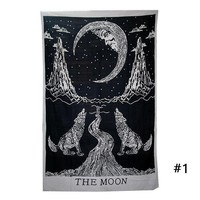 DCCKJG2 1 Pc Vintage Pattern Printing Tapestry Towel Black White Wolves Trees Printed Home Decoration