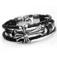 Awesome Hot Sale Gift Stylish New Arrival Great Deal Shiny Cross Rack Rivet Leather Punk Ring Accessory Bracelet [6542301251]