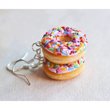 Strawberry Doughnut Hook Dangle Earrings, Polymer Clay Food Jewelry