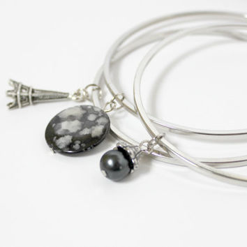 Black Faux Pearl, Shell, and Silver Eiffel Tower Bangle Charm Bracelet Set - Trendy Paris-Inspired Handmade Jewelry - Ready to Ship