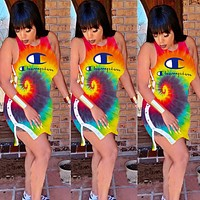 Champion New fashion letter print multicolor vest dress women