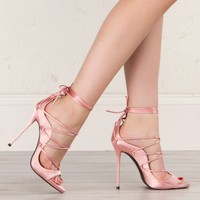Satin Lace Up Sandals in Blush and Grey