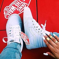 VANS SK8-HI Fashion Classic Full white cloth shoes authentic shoes
